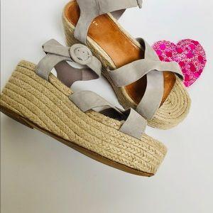 HALOGEN-Grey espadrilles wedge sandals.
